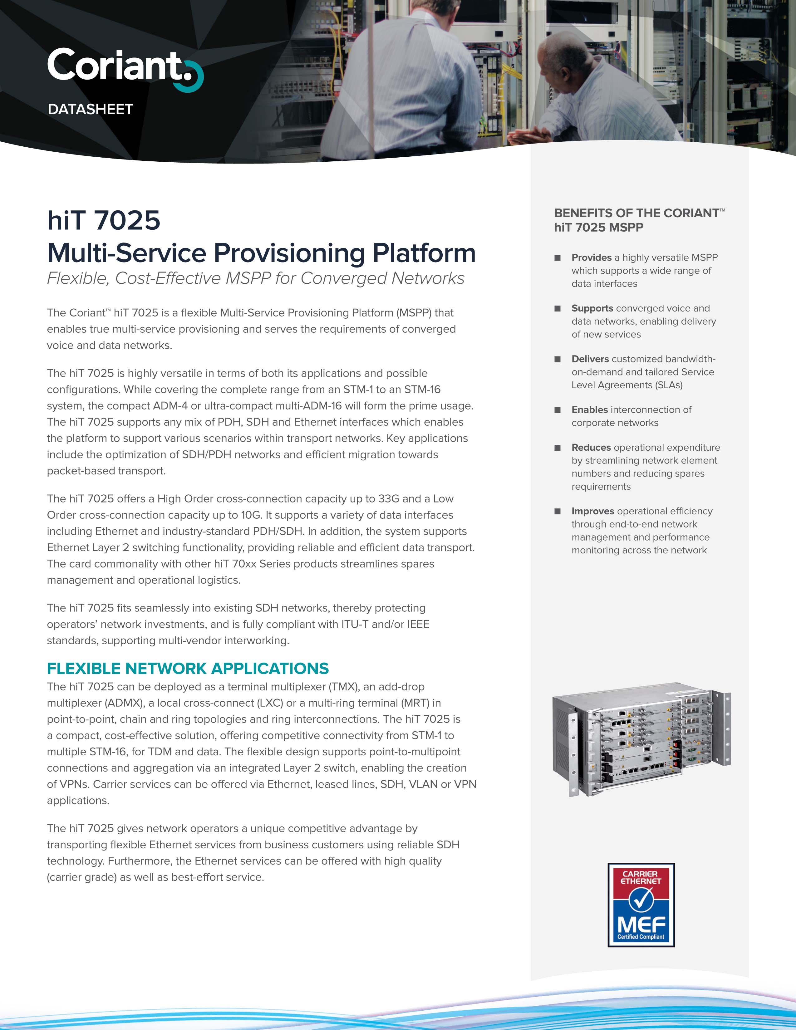 Datasheet - hiT 7025 Multi-Service Provisioning Platform
